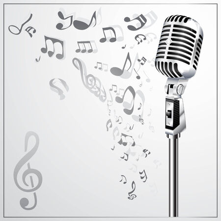old microphone: Musical background with retro microphone Illustration