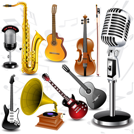 Set off different musical instruments with notes. Vector illustration