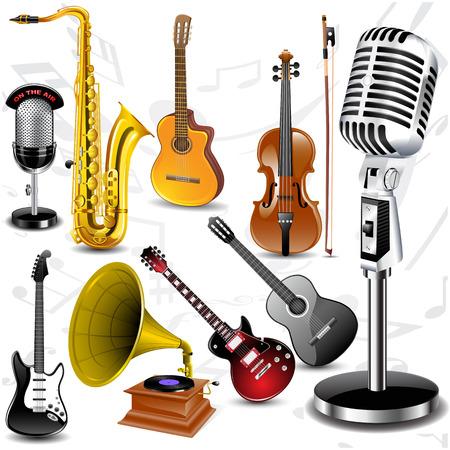 Uit verschillende muziek instrumenten met notities instellen Vector illustratie Stock Illustratie