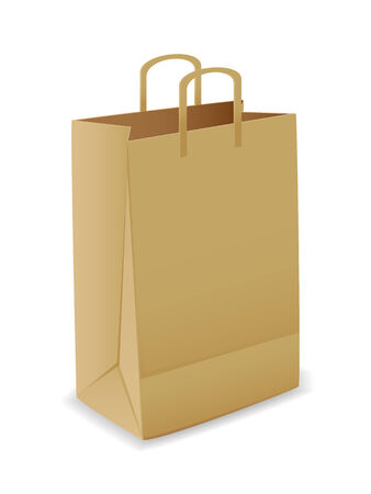 commercial recycling: Vector illustration of paper bag over white background  Illustration