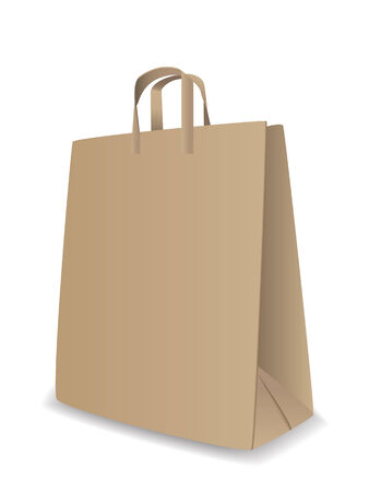 white paper bag: Vector illustration of paper bag over white