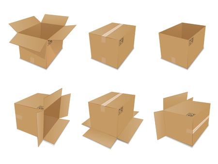 cartons: Set of vector cardboard boxes