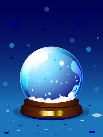 christal: illustration of Chrismas snow globe on blue background