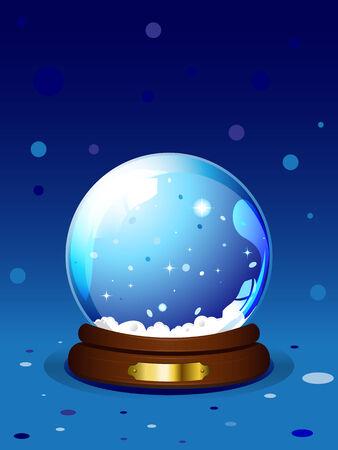 chrismas background: illustration of Chrismas snow globe on blue background