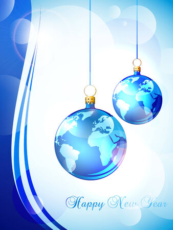Happy New Year greeting card with world baubles Vector