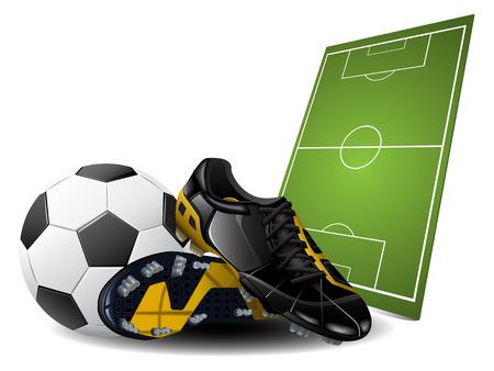 soccer stadium:  Botas de f�tbol y la bola. Fondo de f�tbol
