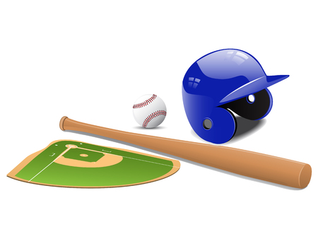 Baseball field, ball and accessories Vector