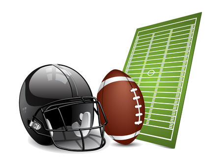 sports helmet: American football design elements - field, ball and football helmet