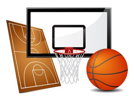 panier basketball: �l�ments de conception de basket-ball Illustration