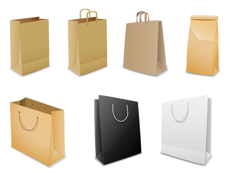 white paper bag: Set of  paper bags Illustration