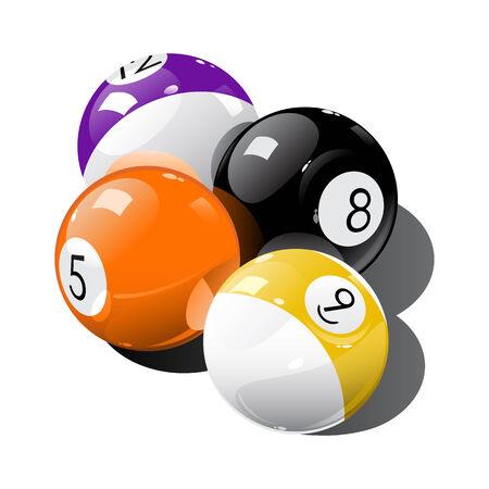 bola de billar: Ilustraci�n vectorial de bolas de piscina