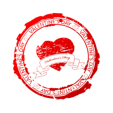 Vector illustration of red rubber stamp for Valentine's Day Stock Vector - 8782465