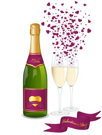 bollicine champagne: Bottiglia di Champagne e due bicchieri. Sfondo di San Valentino Vettoriali