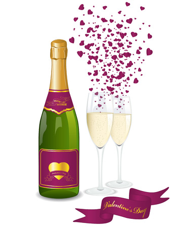 Champagne bottle and two glasses. Valentine's day background Vector