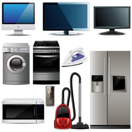 Huishoudelijke elektronische elementen  Vector Illustratie