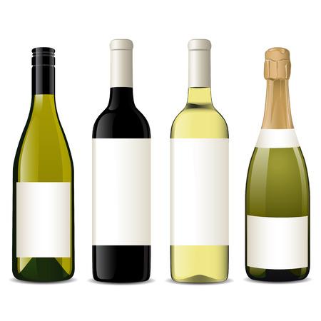 botella: Botellas de vino de vectores