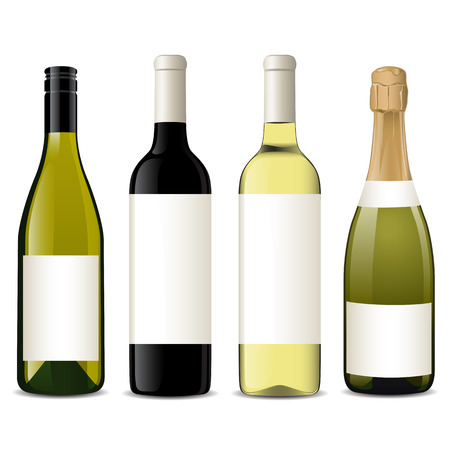 glass with red wine: Vector wine bottles Illustration