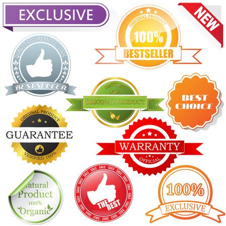 gold label: labels set Illustration