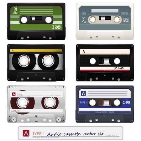 Vector audio cassettes  Иллюстрация