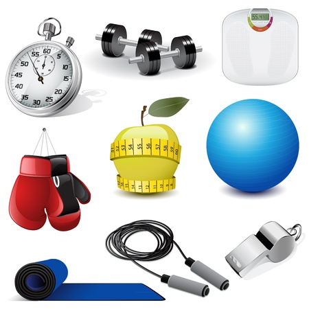gym equipment: Vector icons fitness
