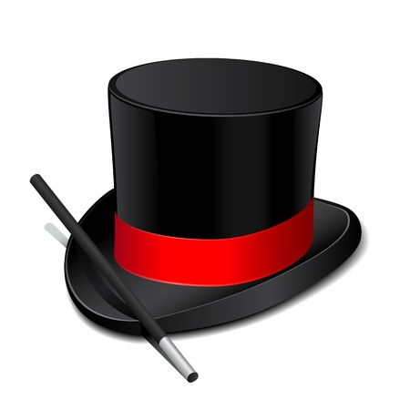 magician hat: Magic hat with magic wand