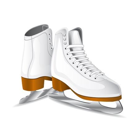 patinaje sobre hielo: patines figura blanca  Vectores