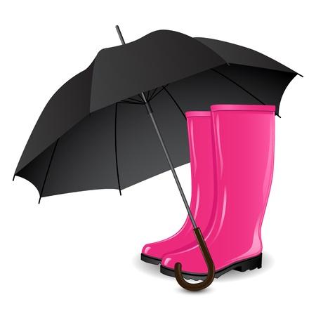 lluvia paraguas: Un par de rainboots y un paraguas