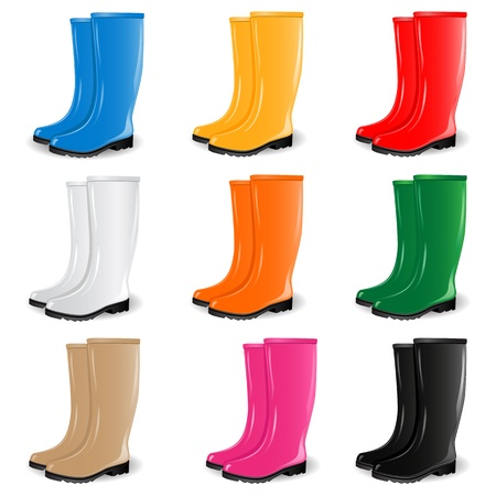 wellingtons: Colored rubber boots Illustration