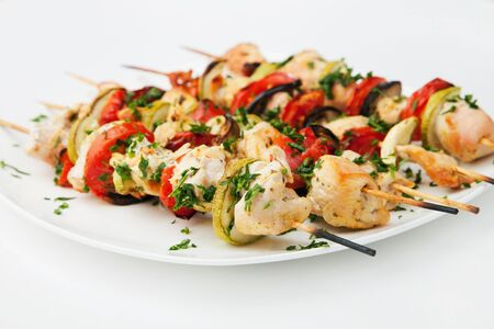 Grilled chicken skewers photo