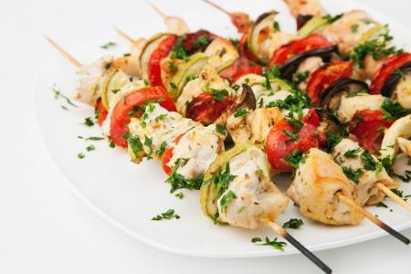 shashlik: Grilled chicken skewers