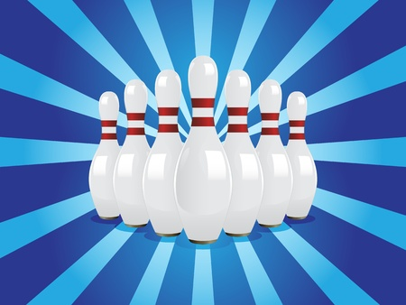 red pin: Bowling pins