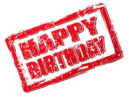 red stamp: Happy birthday stamp Illustration