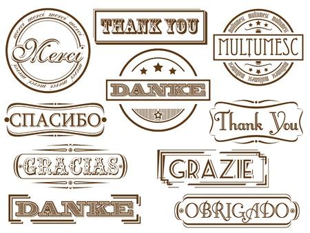Dank je postzegels in verschillende talen Stock Illustratie