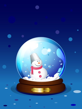 Vector snowglobe with snowman Vector