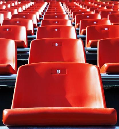 Red stadium seats photo