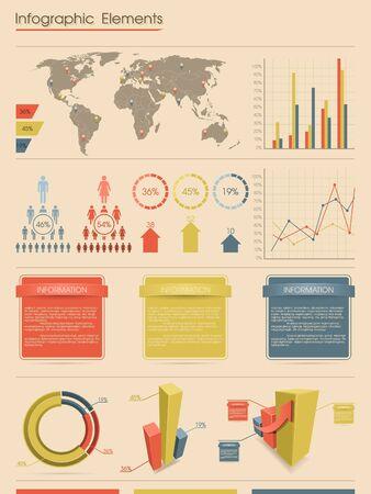 Infographic elementen. Retro style Stock Illustratie
