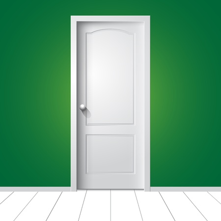 single entry: illustration of a white door on green wall