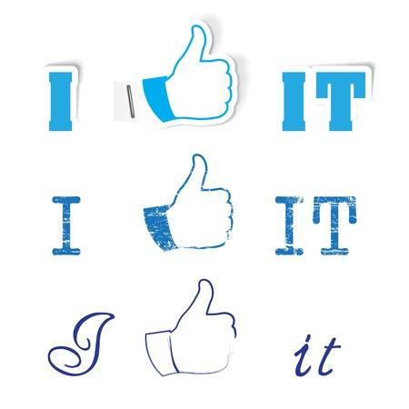 set of like hand for social network media Stock Vector - 17718049