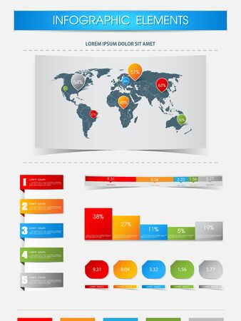Elements of infographics with world map Stock Vector - 19883629