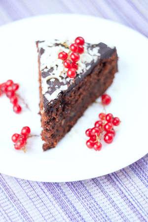chocolaty: A slice of chocolate cake  Stock Photo