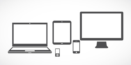 Black and white set of electronic gadgets  Vector illustration  Vector