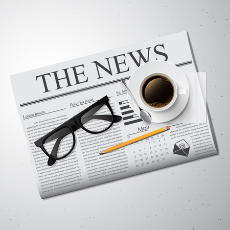 news papers: Cup of coffee, newspaper and glasses