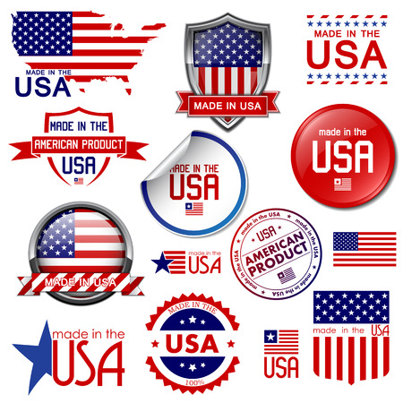сделанный: Сделано в США Набор векторных графических иконок и ярлыков