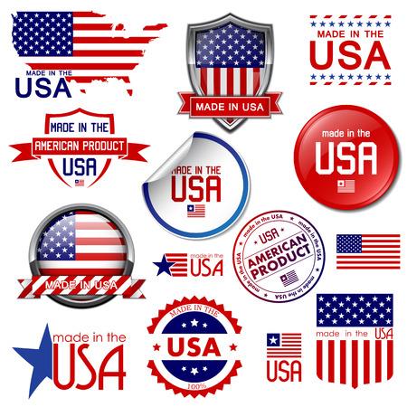Hergestellt in den USA Set von Vektor-Grafik-Icons und Beschriftungen