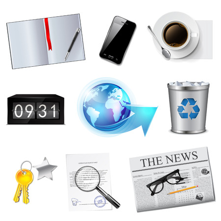 Business and office icons set  Detailed vector illustration Vector