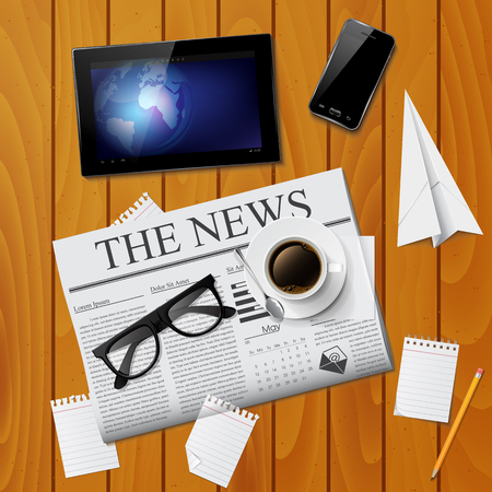 Cup of coffee, newspaper, tablet, smartphone and glasses Vector
