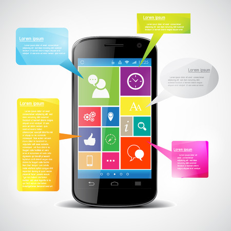 Touchscreen smartphone with colorful icons Vector