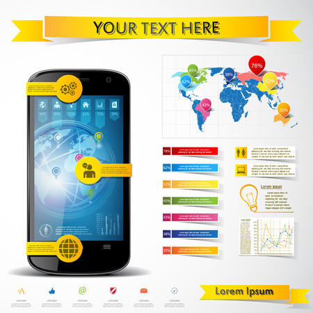Infographic with a touch screen smartphone Vector