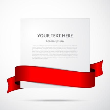 Paper with red satin ribbon with space for your text  Vector illustration