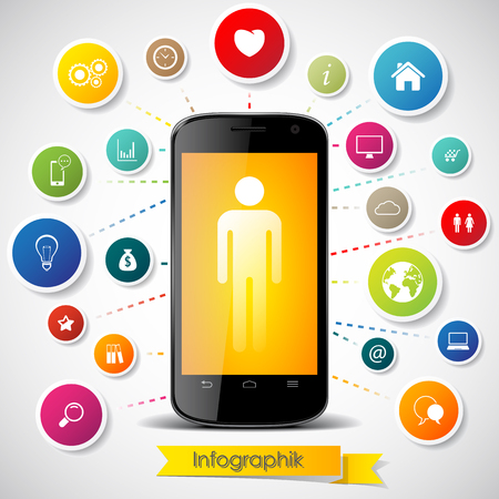 A smartphone human silhouette in the screen surrounded with  different web icons